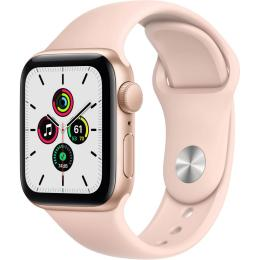 Apple Watch SE GPS, 40mm Gold Aluminium Case with Pink S