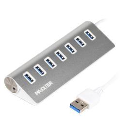 Maxxter USB 3.0 Type-A 7 ports silver
