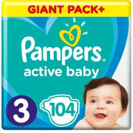 Pampers Active Baby Midi Размер 3 (6-10 кг), 104 шт.