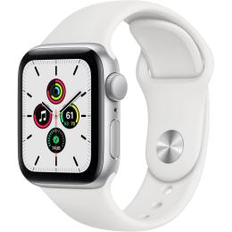 Apple Watch SE GPS, 44mm Silver Aluminium Case with Whit