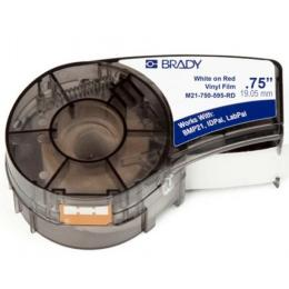 Brady M21-750-595-RD vinyl, 9.53mm/6.4m. White on Red