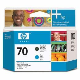 HP No.70 Matte Black and Cyan