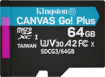 Kingston 64GB microSD class 10 UHS-I U3 A2 Canvas Go Plus