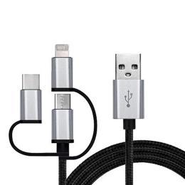 REAL-EL USB 2.0 AM to 3in1 1.0m Premium black