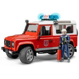 Bruder Джип пожарный Land Rover Defender + фигурка пожар