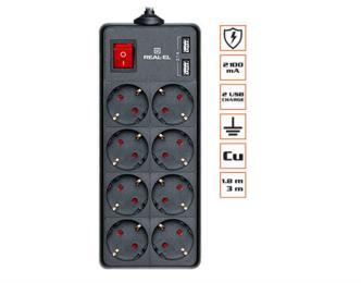 REAL-EL REAL-EL RS-8 PROTECT USB, 1.8m, black