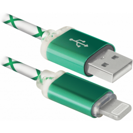 Defender USB 2.0 AM to Lightning 1.0m ACH03-03LT GreenLED b